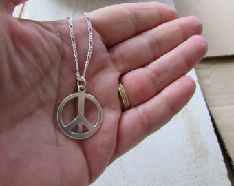 Sterling Silver Peace Sign Necklace, Peace Necklace, Silver Peace sign Necklace, Peace Sign Jewelry, Long Silver Chain, Peace Pendant