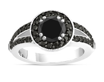 Fancy Black Diamonds Engagement Ring 14k White Gold 1.60 Carat Unique Pave Halo Handmade Certified