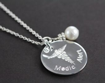Medical Alert Jewelry Custom Engraved Medic ID, 925 Sterling Silver