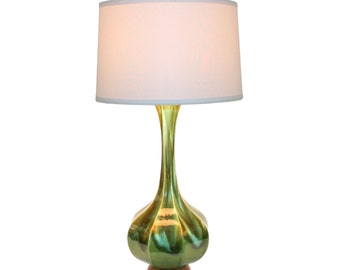 Mid-Century Modern Pottery Lamp Green Ombre Glaze REFURBISHED