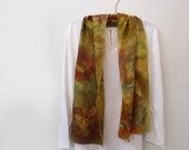 Autumn Leaves Scarf,Crepe de Chine, Fall Colors,Rust, Tan, Gold and Olive Hand-Painted