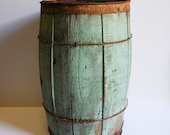 Vintage wood barrel Nail Keg Barn salvage container  Green blue Primitive rustic metal Wire banded Storage planter