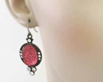 Vintage Earrings  Crystal Earrings - Blush Pink Earrings - Vintage Wedding Earrings -Pink Earrings - handmade