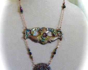Vintage Escutcheon Neo-Victorian Assemblage Necklace, OOAK, Repurposed Escutcheon Hardware with Medallion in Copper