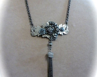 Tassel Assemblage Necklace Silver and Gunmetal, OOAK Repurposed Art Nouveau Escutcheon, Rhinestones and Roses