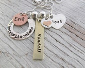 Personalized Family Charm Necklace, Christmas Gift for Her, 4 kids names, Mother's Necklace, Grandmother Necklace