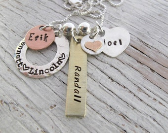 Personalized Family Charm Necklace, Mother's Day Gift, 3 kids, 4 kids names, Mother's Necklace, Grandmother Necklace