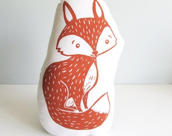 Plush Fox Pillow. Hand Woodblock Printed. Choose ANY COLORS. Made to order- can take 1-2 weeks.