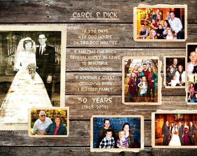 REAL WOOD Parents Anniversary Custom Wood Photo Print Anniversary Gift Wedding Decoration 20x30