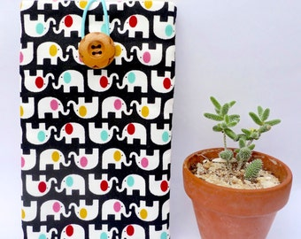 Cute White Elephant in Black, iPhone 6S Plus Padded Sleeve, Samsung Galaxy Note Fabric Case