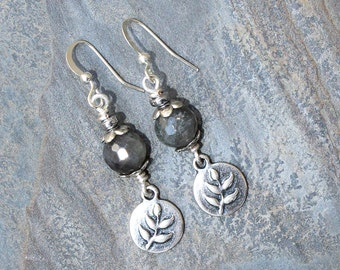 Gray Leaf Earrings, Labradorite Earrings, Natural Stone Earrings, Leaf Jewelry, Gemstone Earrings, Gray Earrings, Dangly Earrings, Handmade