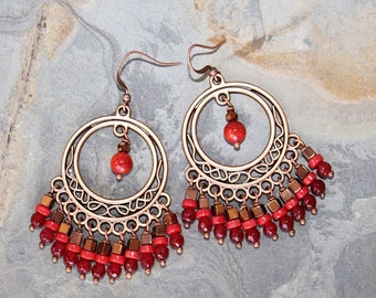 Red Earrings, Chandelier Earrings, Copper Bohemian Earrings, Jade Earrings, Coral Earrings, Gypsy Earrings, Handmade Earrings