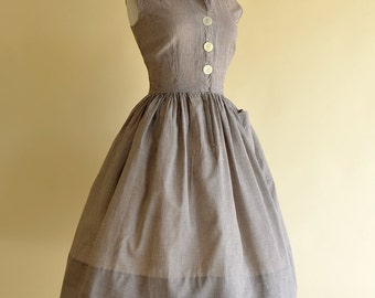 Vintage 1950s Day Dress...SHERRY KENT Brown and White Cotton Day Dress