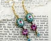 Lady Mary,Art Deco, Vintage Rose Guilloche Enamel, Vintage Rose Pink and Aqua Swarovski Rhinestone Assemblage Earrings,