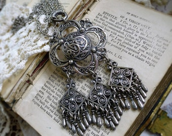 The Original Bohemian, Stunning Vintage Nickle Silver Etched Boho Tassel Necklace by Hollywood Hillbilly