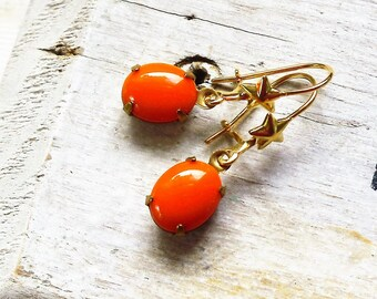 Hocus Pocus, Golden Stars and Vintage Orange  Oval Glass in Natural Brass with vintage Star Ear wire Earrings by Hollywood Hillbilly