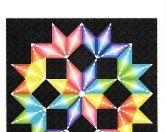 Quilt Pattern, Colorburst, Wall Hanging, Queen Quilt, Log Cabin, Broken Star, Patti Carey, PATTERN ONLY