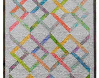 Quilt Pattern, Pieced Quilt, Cottage Chic Decor, Queen King Quilt, Linked In, Little Louise Designs, Patchwork Passion, PATTERN ONLY