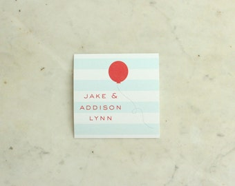 personalized children's / brother / twins / siblings gift stickers - stripes and balloon (aqua and red)