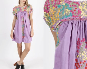 Vintage Oaxacan Dress Mexican Dress Boho Dress Hippie Dress Hippy Dress Vintage 70s Dress Floral Hand Embroidered Purple Mini S