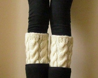 Alpaca Ivory Knit Boot Cuffs, Handmade Leg Warmers, Knitted Boot Toppers