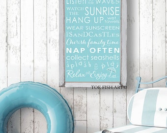 Beach Rules with Seashore Bunting - Vintage Style Typography Word Art Sign