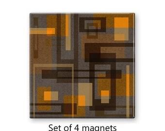 Modern magnet set, geometric refrigerator magnets, brown fridge magnets, set of 4 decorative magnets, kitchen decor, large magnets