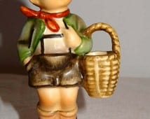 Hummel Village Boy with Grocery Basket Porcelain Home and Garden Collectibles Figurines People Figurines