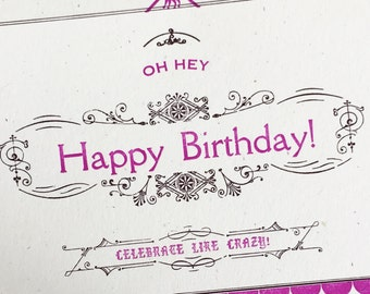 Happy Birthday Letterpress Card Victorian Ornaments Banner