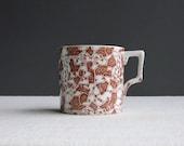 Antique English Transferware Shaving Mug - 'Mosaic' Brown Staffordshire Ceramic Late 19th Century 1880s Coffee Cup Men's Grooming