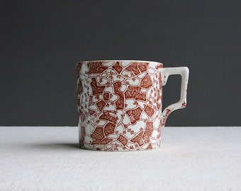 Antique English Transferware Shaving Mug - 'Mosaic' Brown Staffordshire Ceramic Late 19th Century 1880s Coffee Cup Men's Grooming