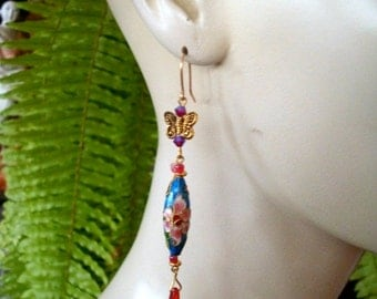 Earrings Cloisonne with butterfly