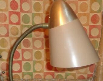 Vintage Gooseneck Desk Table Lamp Retro Mid Century Modern Atomic Gold Tan
