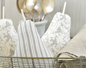 Fabric Pears-Gray and White Pears-Farmhouse Decor-Cottage