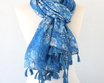 Blue womens scarf reversible scarf animal print scarf floral scarf blue tassel scarf leopard printed scarf bohemian scarf cotton fashion