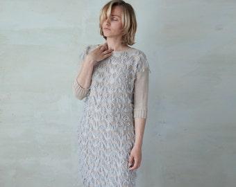 Knit fringed dress fuzzy midi oversized tunic dress with pockets - ivory sand light gray