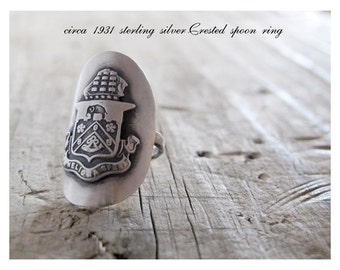 Statement Rings, Vintage Sterling Silver Spoon Badge Crest Elephant Ship Upcycled Spoon Ring, Hallmark Eco Friendly Large Big Statement Ring