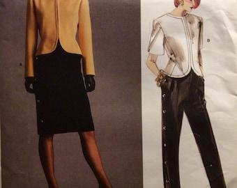 GIVENCHY Paris Original Vogue Sewing Pattern Jacket Skirt and Pants Size 12 Suit 1986 Uncut