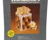 Vintage Plastic Canvas Kit Tissue Cover Kit, Autumn Leaves Wonder Art, Tissue Box Cover, Needlework Kit, Stitching Kit, Fall Leaves Yarn Kit