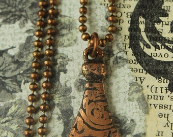 Hamsa Hand of Fatima Copper Pendant on Chain -for tribal pagan gypsy style jewelry layered necklaces  1-HFP- C