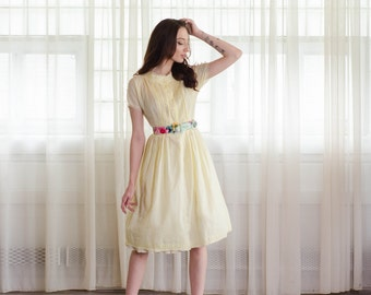 1960s Shirtwaist Dress - 60s Fit & Flare Dress - Lemon Fizz  Dress
