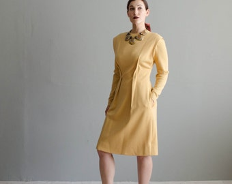 Vintage 1960s Bill Blass Dress - Wool 60s Dress - Plantain MOD Dress