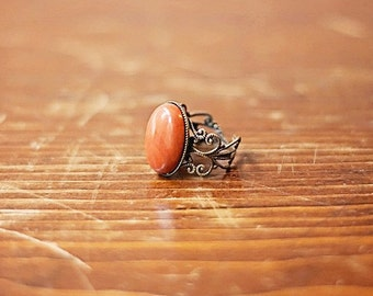 Red Jasper Gemstone Ring Red Jasper Ring Antiqued Gold Filigree Ring Brick Red Stone Ring Oval Red Jasper Ring Oval Gemstone Ring