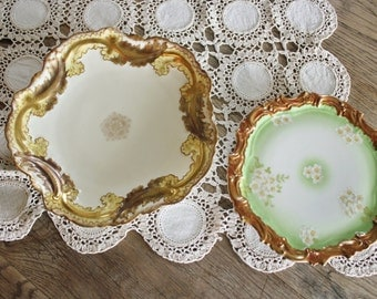 2 Antique Ornate Gilt Hand Painted Limoges Plates