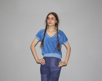 1970s Vintage Blue Terry Cloth Hang Ten Cropped Top   - Vintage Terry Cloth Tops  - 70s Crop Tops - WT0421