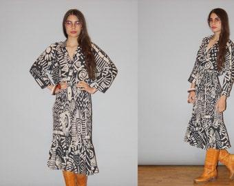 Vintage 1990s Graphic Tribal Hippie Boho Festival Dress - Vintage 90s Graphic Dress - Vintage Dresses  - WD0835