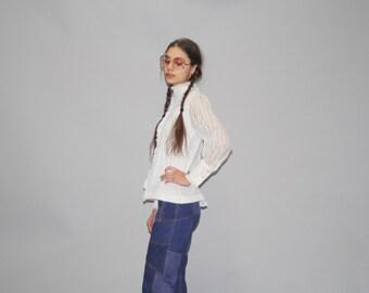 Vintage 1970s White Lace Victorian Gothic Prairie Blouse - Vintage Lace Boho Blouse - Vintage Lace Top - WT0417