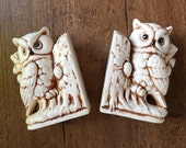 vintage ceramic owl bookends, white and brown owl bookends, ceramic owls