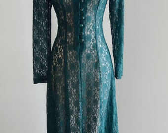 Vintage 70s LACE MAXI DRESS Emerald Green Long Sleeves