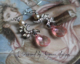 Pink Dreams ~ vintage assemblage earrings pink lucite drops rhinesotne one of a kind crowned by grace